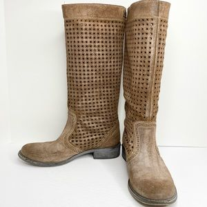 Diesel Perforated Suede Knee-High Boots